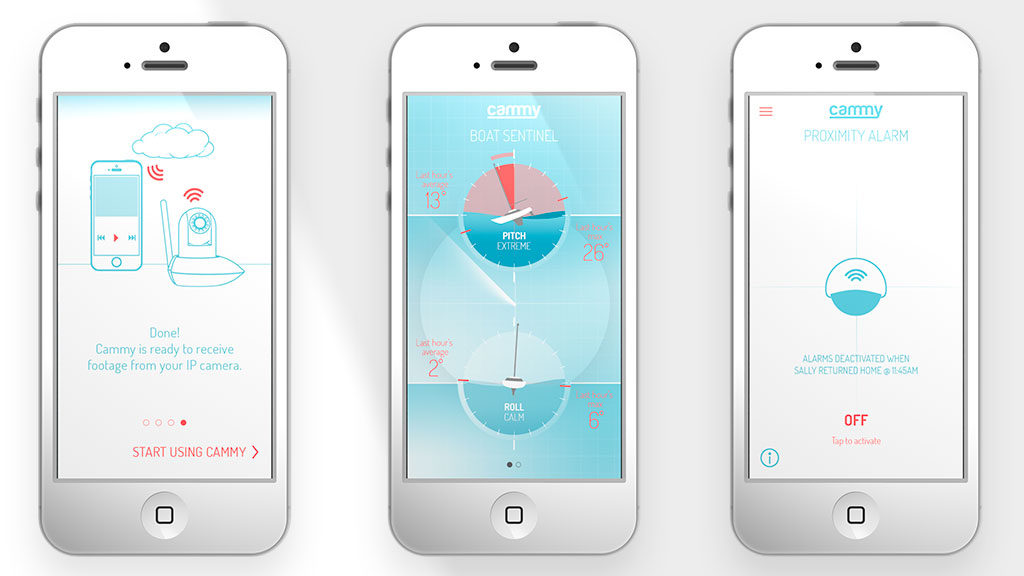 Cammy mobile app screens – Steve Santer - Digital Art Direction and Motion Design
