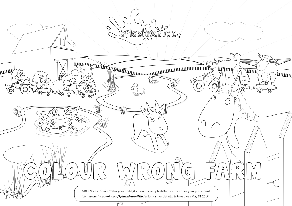 SplashDance - Colouring In - Colour wrong Farm - childrens illustration. Created by Steve Santer