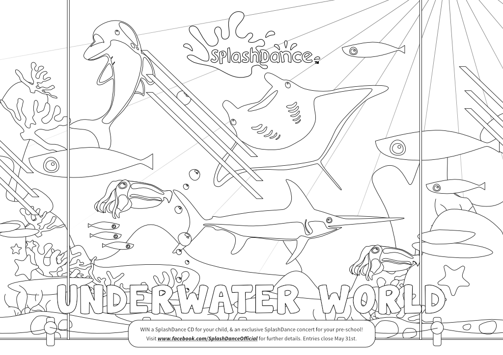 SplashDance - Colouring In - Underwater world - childrens illustration. Created by Steve Santer