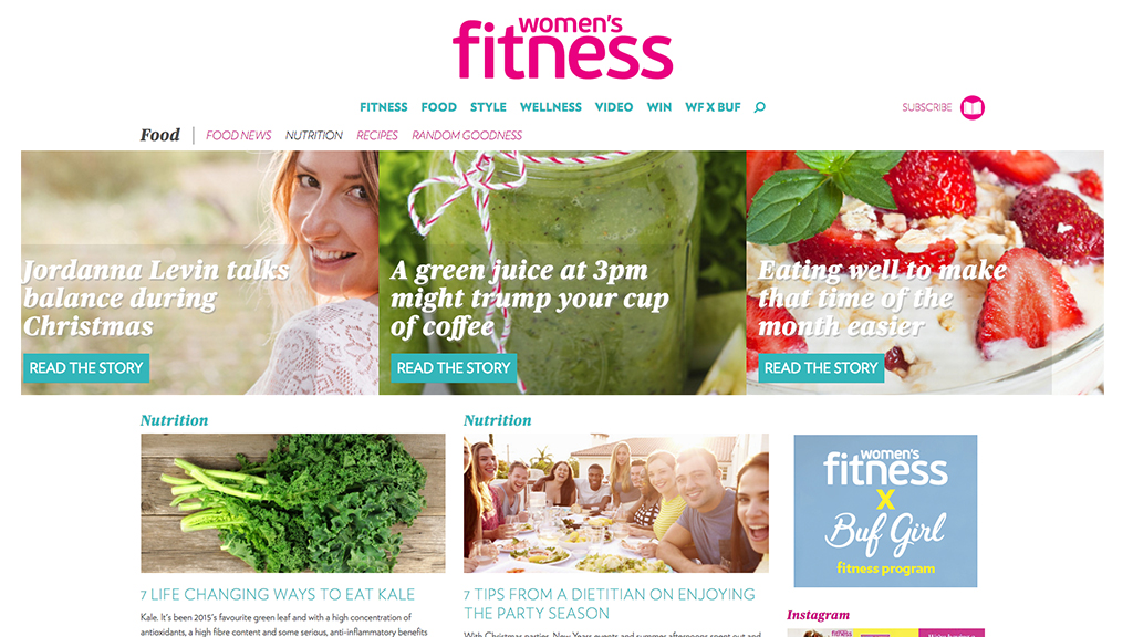 womens fitness magazine - food page design